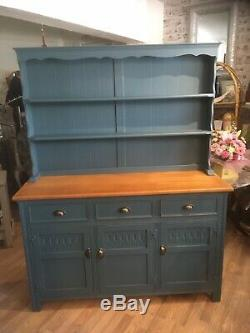 Vintage Painted Oak Country Dresser Blue Shabby Chic
