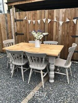 Vintage Pine Farmhouse Shabby Chic Kitchen Dining Table Annie Sloan