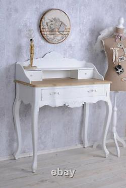 Vintage Secretary Desk White Shabby Chic Table Console Wall Side Wood New