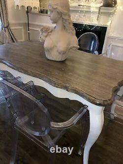 Vintage Shabby Chic 8 Placed Light Wooden Dining Kitchen Table With Carved Legs
