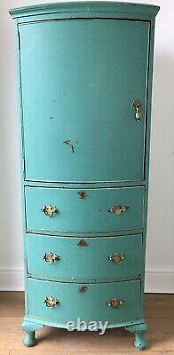 Vintage Shabby Chic Tall Teal Blue Green Bedroom Linen Kitchen Cupboard Cabinet