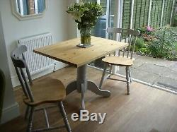 Vintage Shabby Chic Waxed & Grey Pine Dining Table & Chairs Kitchen Farmhouse