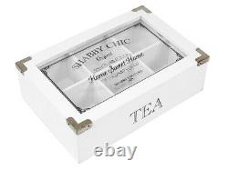 Vintage Shabby Chic Wooden Tea Bag Storage Box 6 Compartments Glass LID Herbal