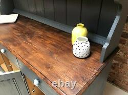 Vintage Solid Pine Wood Shabby Chic Grey Country Kitchen Welsh Dresser Cabinet