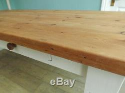 Vintage antique pine farmhouse kitchen dining table and chairs shabby chic