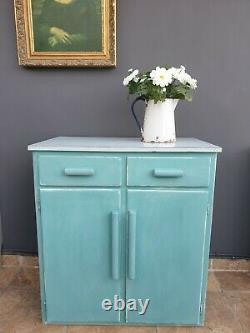 Vintage retro 1960s formica top shabby chic painted kitchen cupboard