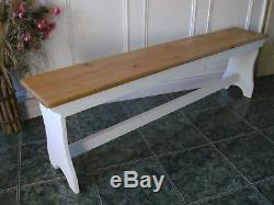 Vintage style pine bench seat shabby chic wooden bench 1.5m length