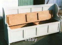 Vintage style pine monks bench settle bench seat shabby chic seat storage