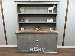 Welsh Dresser Farmhouse Kitchen Unit SHABBY CHIC OAK PINE Farrow And Ball Grey