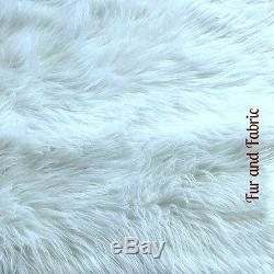 White Shag Carpet Rectangle Faux Sheepskin Area Rug Shabby Chic FUR ACCENTS